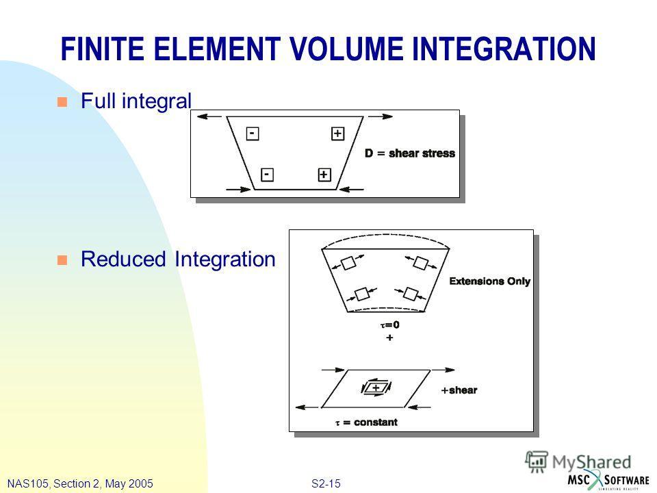 S2-15NAS105, Section 2, May 2005 FINITE ELEMENT VOLUME INTEGRATION n Full integral n Reduced Integration