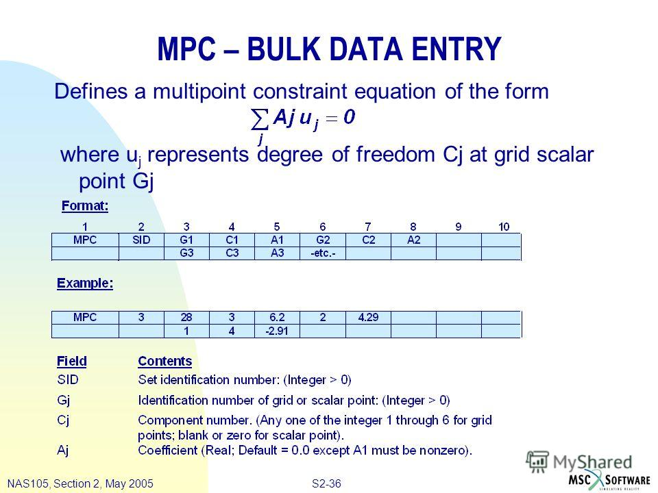 S2-36NAS105, Section 2, May 2005 MPC – BULK DATA ENTRY Defines a multipoint constraint equation of the form where u j represents degree of freedom Cj at grid scalar point Gj