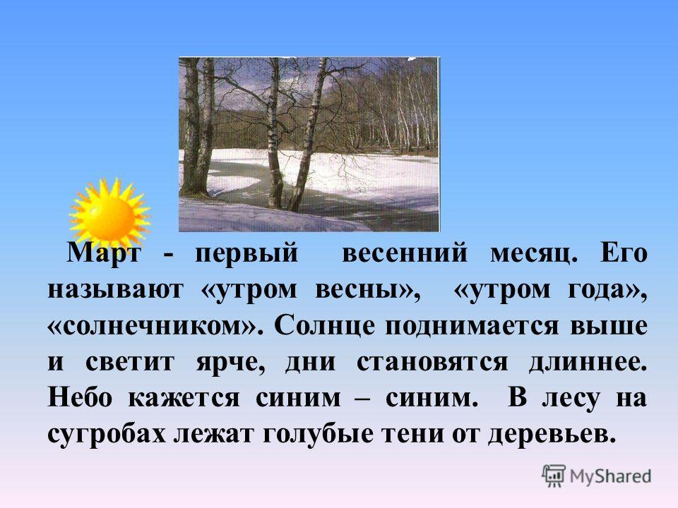 Март - первый весенний месяц. Его называют «утром весны», «утром года», «солнечником». Солнце поднимается выше и светит ярче, дни становятся длиннее. Небо кажется синим – синим. В лесу на сугробах лежат голубые тени от деревьев.