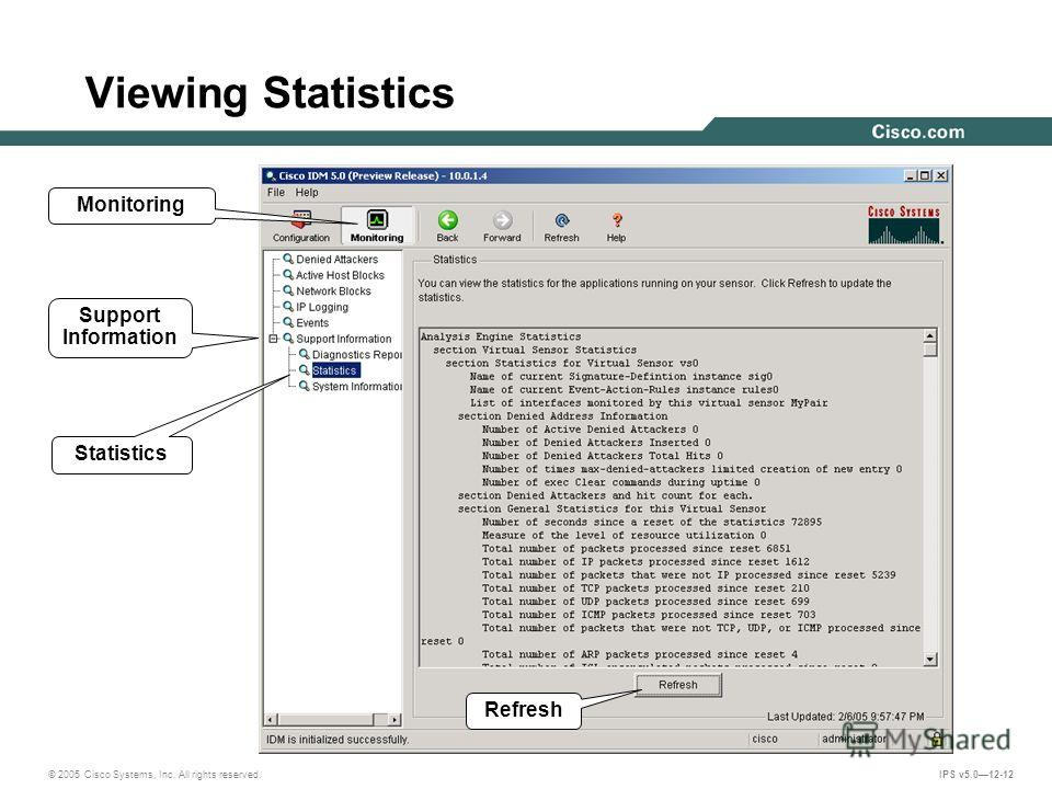 © 2005 Cisco Systems, Inc. All rights reserved. IPS v5.012-12 Viewing Statistics Monitoring Support Information Statistics Refresh