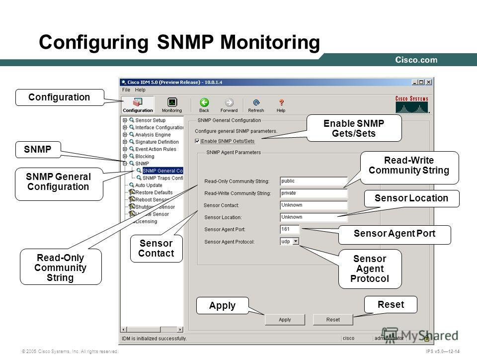 © 2005 Cisco Systems, Inc. All rights reserved. IPS v5.012-14 Configuring SNMP Monitoring Configuration Enable SNMP Gets/Sets SNMP SNMP General Configuration Apply Reset Read-Only Community String Read-Write Community String Sensor Contact Sensor Loc