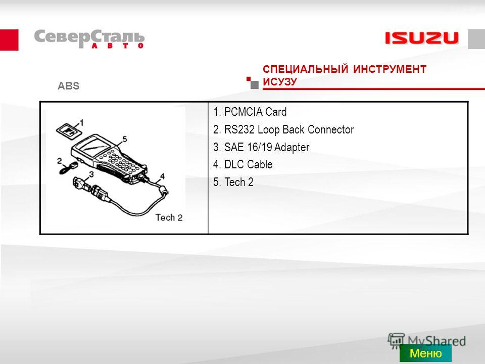 СПЕЦИАЛЬНЫЙ ИНСТРУМЕНТ ИСУЗУ 1. PCMCIA Card 2. RS232 Loop Back Connector 3. SAE 16/19 Adapter 4. DLC Cable 5. Tech 2 ABS Меню