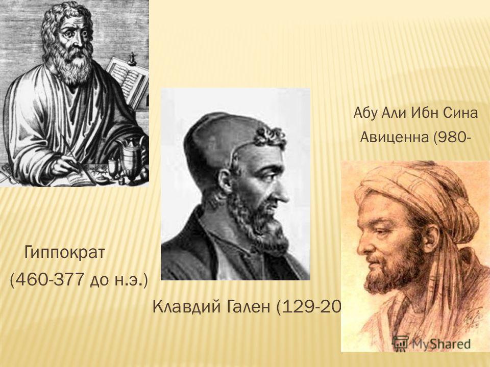 Абу Али Ибн Сина Авиценна (980- 1037 ) Гиппократ (460-377 до н.э.) Клавдий Гален (129-201)