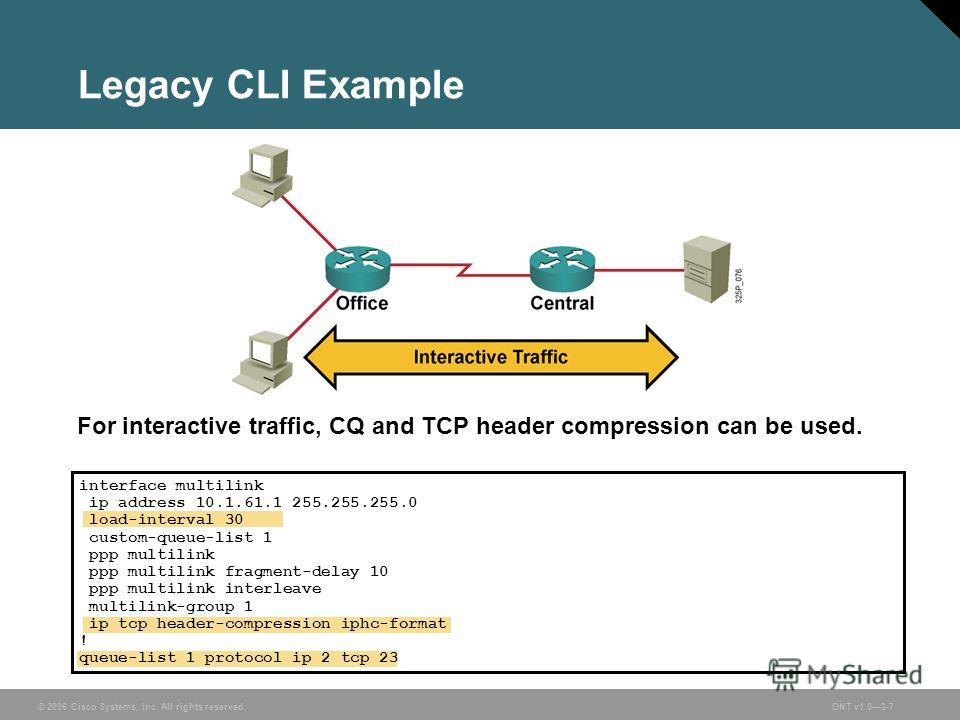 © 2006 Cisco Systems, Inc. All rights reserved.ONT v1.03-7 Legacy CLI Example For interactive traffic, CQ and TCP header compression can be used. interface multilink ip address 10.1.61.1 255.255.255.0 load-interval 30 custom-queue-list 1 ppp multilin
