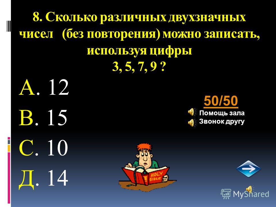 8. Сколько различных двухзначных чисел (без повторения) можно записать, используя цифры 3, 5, 7, 9 ? А. 12 В. 15 С. 10 Д. 14 50/50 Помощь зала Звонок другу