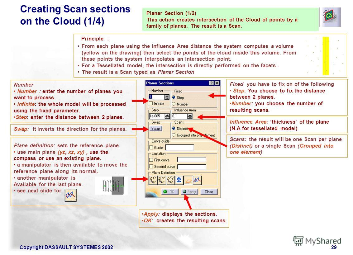 Copyright DASSAULT SYSTEMES 200229 Planar Section (1/2) This action creates intersection of the Cloud of points by a family of planes. The result is a Scan. Number Number : enter the number of planes you want to process. infinite: the whole model wil