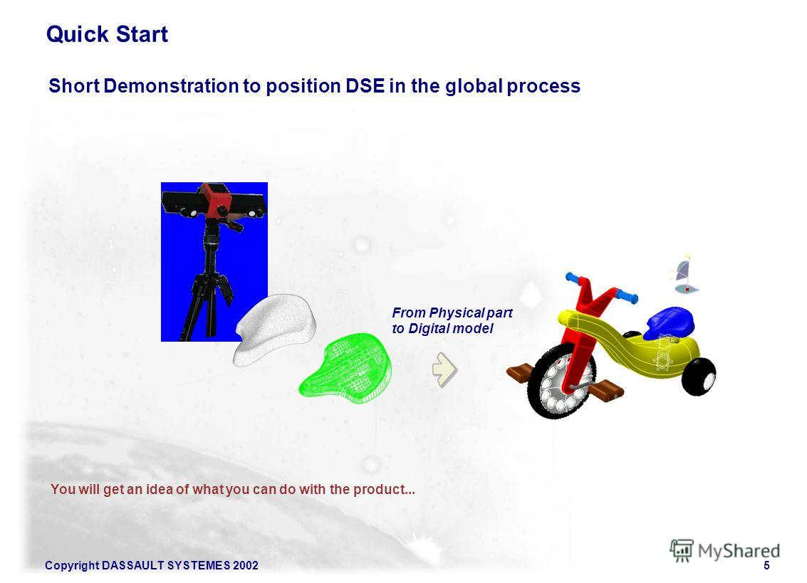 Copyright DASSAULT SYSTEMES 20025 Quick Start Short Demonstration to position DSE in the global process You will get an idea of what you can do with the product... From Physical part to Digital model