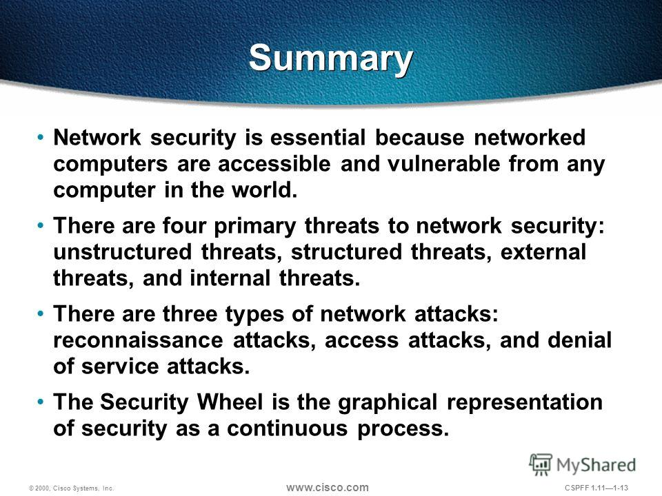 © 2000, Cisco Systems, Inc. www.cisco.com CSPFF 1.111-13 Summary Network security is essential because networked computers are accessible and vulnerable from any computer in the world. There are four primary threats to network security: unstructured