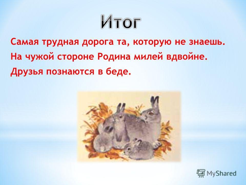 Самая трудная дорога та, которую не знаешь. На чужой стороне Родина милей вдвойне. Друзья познаются в беде.