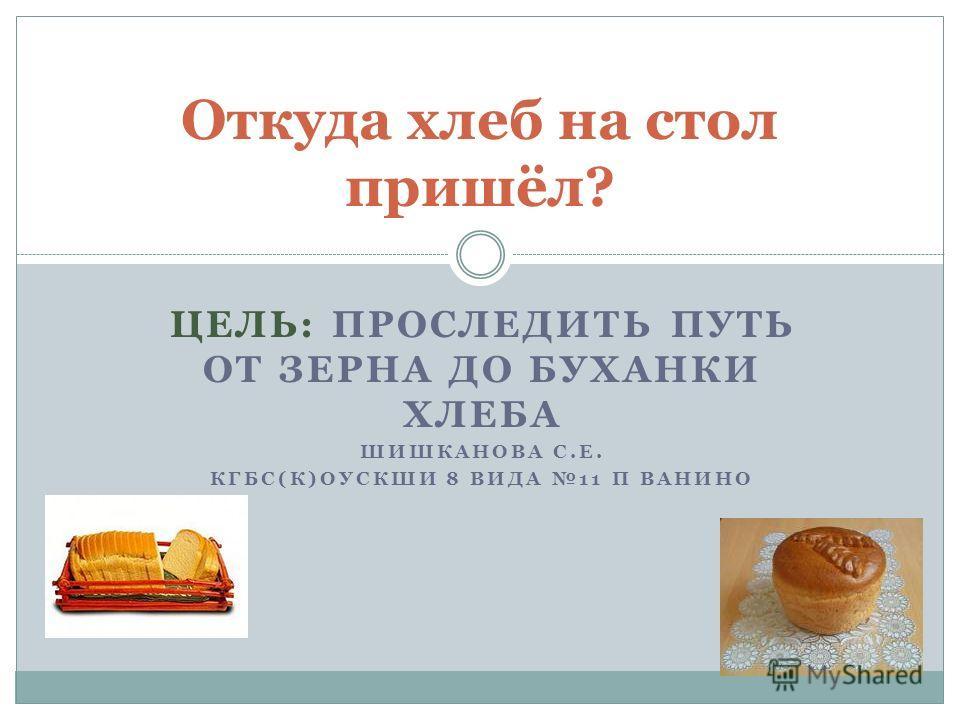 ЦЕЛЬ: ПРОСЛЕДИТЬ ПУТЬ ОТ ЗЕРНА ДО БУХАНКИ ХЛЕБА ШИШКАНОВА С.Е. КГБС(К)ОУСКШИ 8 ВИДА 11 П ВАНИНО Откуда хлеб на стол пришёл?