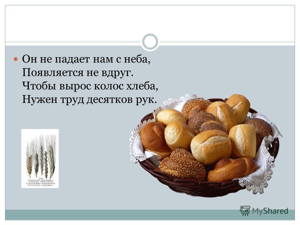 Он не падает нам с неба, Появляется не вдруг. Чтобы вырос колос хлеба, Нужен труд десятков рук.