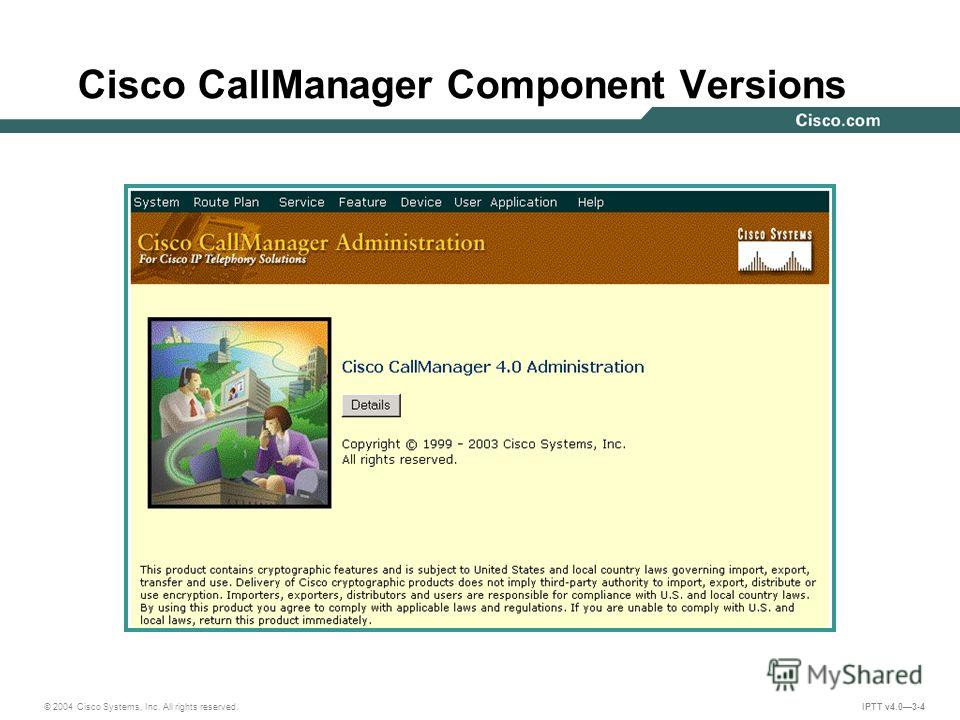 © 2004 Cisco Systems, Inc. All rights reserved. IPTT v4.03-4 Cisco CallManager Component Versions