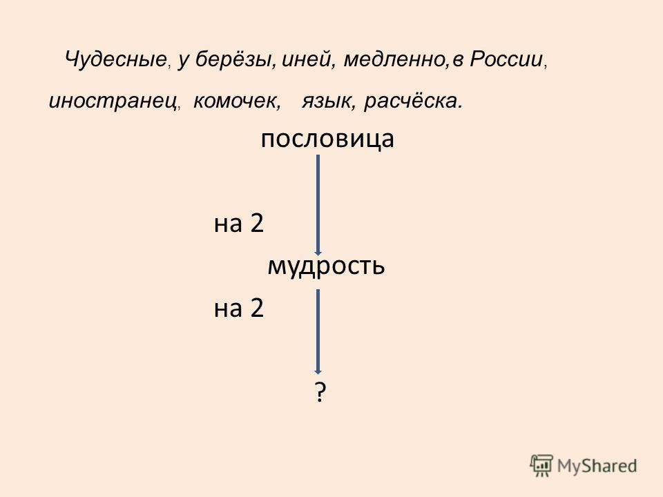 пословица на 2 мудрость на 2 ? Чудесные, у берёзы,иней,медленно,в России, иностранец, комочек,язык,расчёска.