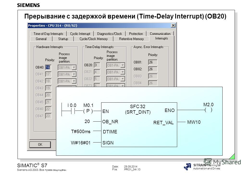 Date:29.09.2014 File:PRO1_04r.13 SIMATIC ® S7 Siemens AG 2003. Все права защищены. SITRAIN Training for Automation and Drives ( P ) ( ) I 0.0M0.1 SFC 32 (SRT_DINT) EN ENO OB_NR DTIME SIGN RET_VAL 20 T#500ms W#16#01 MW10 M2.0 Прерывание с задержкой вр