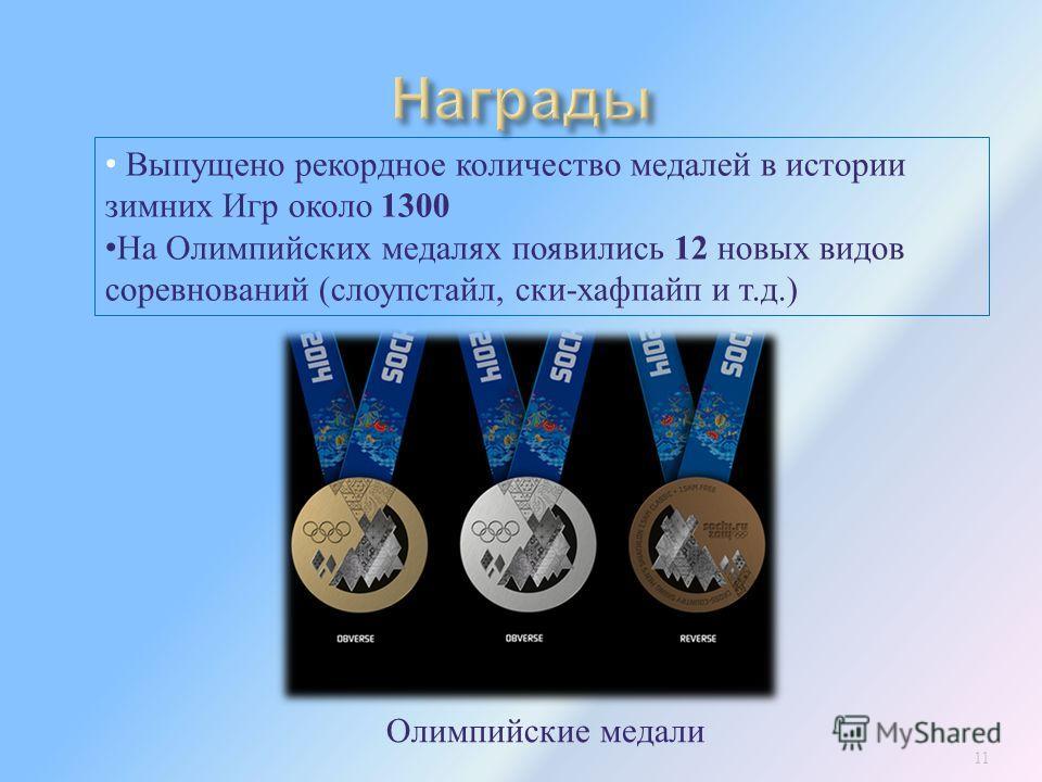 11 Выпущено рекордное количество медалей в истории зимних Игр около 1300 На Олимпийских медалях появились 12 новых видов соревнований ( слоупстайл, ски - хафпайп и т. д.) Олимпийские медали