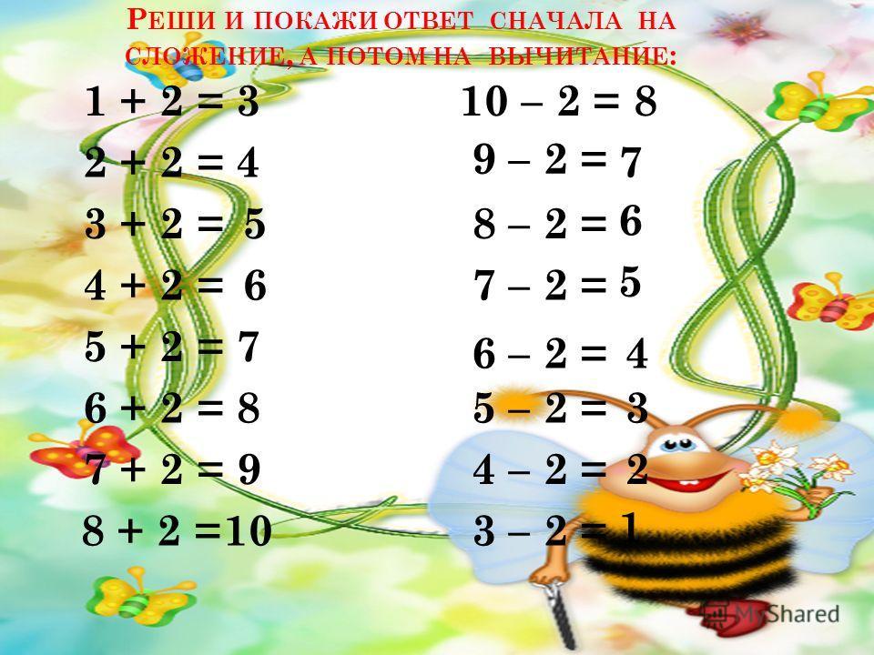 Р ЕШИ И ПОКАЖИ ОТВЕТ СНАЧАЛА НА СЛОЖЕНИЕ, А ПОТОМ НА ВЫЧИТАНИЕ : 1 + 2 = 2 + 2 = 4 + 2 = 3 + 2 = 5 + 2 = 3 4 5 6 7 10 – 2 = 9 – 2 = 8 – 2 = 7 – 2 = 6 – 2 = 8 7 6 5 4 6 + 2 = 7 + 2 = 8 + 2 = 5 – 2 = 4 – 2 = 3 – 2 = 8 10 9 3 2 1
