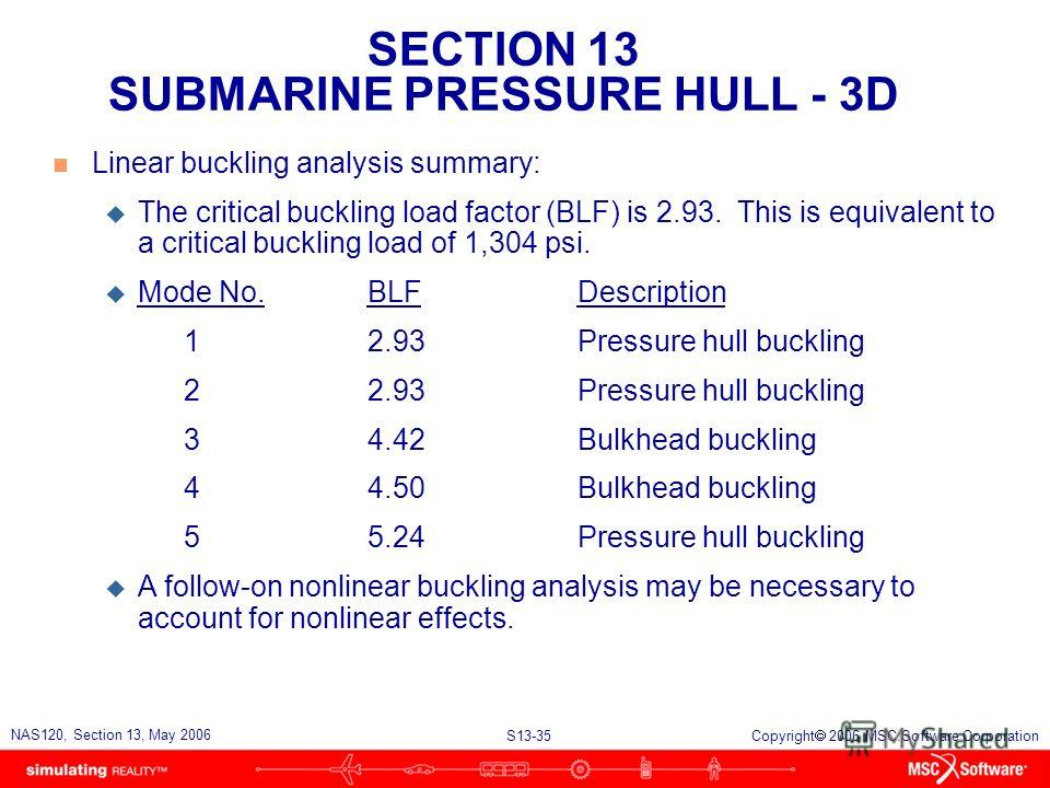 SECTION 13 SUBMARINE PRESSURE HULL - 3D S13-35 NAS120, Section 13, May 2006 Copyright 2006 MSC.Software Corporation n Linear buckling analysis summary: u The critical buckling load factor (BLF) is 2.93. This is equivalent to a critical buckling load