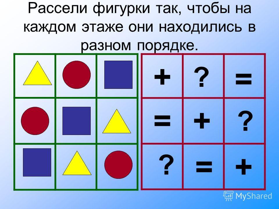 Рассели фигурки так, чтобы на каждом этаже они находились в разном порядке. ? ? ? + + + = = =