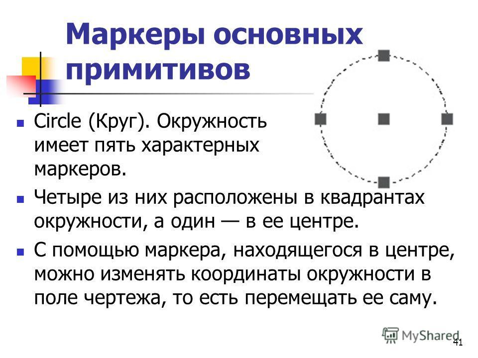 Маркеры основных примитивов Circle (Круг). Окружность имеет пять характерных маркеров. Четыре из них расположены в квадрантах окружности, а один в ее центре. С помощью маркера, находящегося в центре, можно изменять координаты окружности в поле чертеж