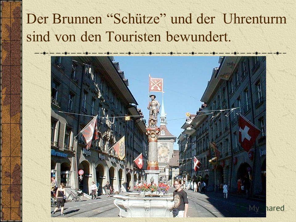 Der Brunnen Schütze und der Uhrenturm sind von den Touristen bewundert.