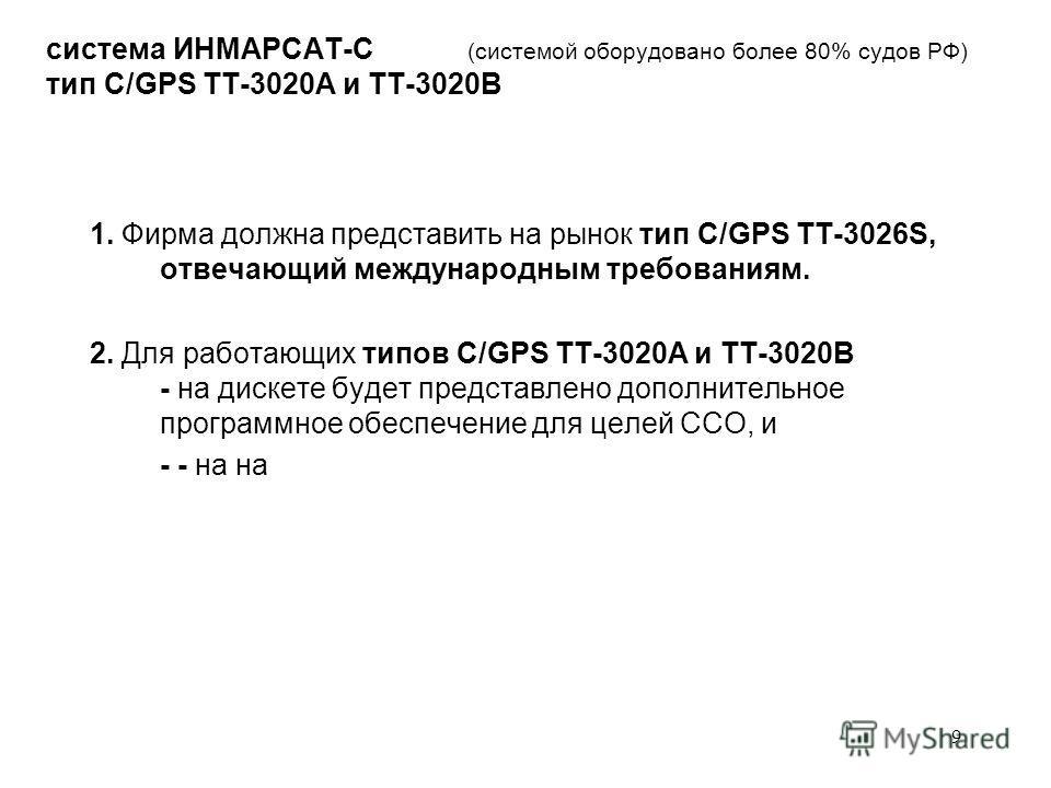 9 система ИНМАРСАТ-С (системой оборудовано более 80% судов РФ) тип C/GPS ТТ-3020А и ТТ-3020В 1. Фирма должна представить на рынок тип C/GPS ТТ-3026S, отвечающий международным требованиям. 2. Для работающих типов C/GPS ТТ-3020А и ТТ-3020В - на дискете