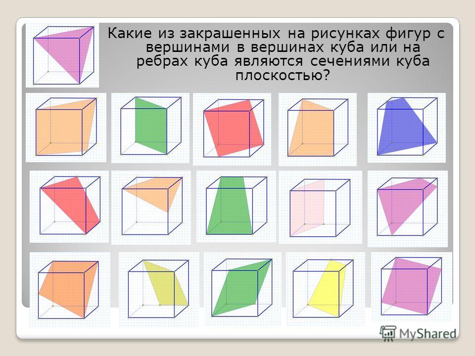Задание Какие из закрашенных на рисунках фигур с вершинами в вершинах куба или на ребрах куба являются сечениями куба плоскостью?