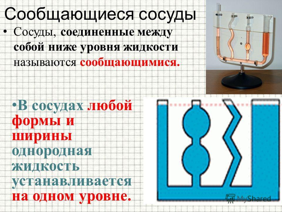 Сообщающиеся сосуды Сосуды, соединенные между собой ниже уровня жидкости называются сообщающимися. В сосудах любой формы и ширины однородная жидкость устанавливается на одном уровне.