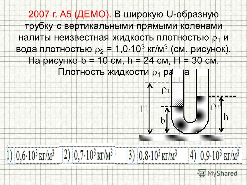 2007 г. А5 (ДЕМО). В широкую U-образную трубку с вертикальными прямыми коленами налиты неизвестная жидкость плотностью 1 и вода плотностью 2 = 1,0 10 3 кг/м 3 (см. рисунок). На рисунке b = 10 см, h = 24 см, H = 30 см. Плотность жидкости 1 равна