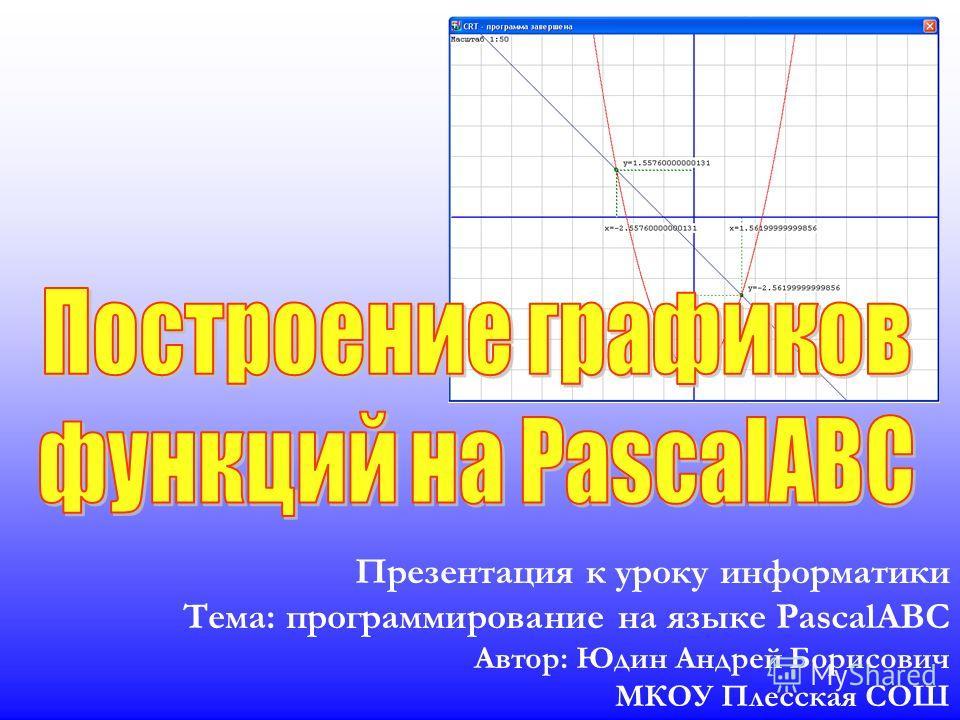 Презентация к уроку информатики Тема: программирование на языке PascalABC Автор: Юдин Андрей Борисович МКОУ Плесская СОШ