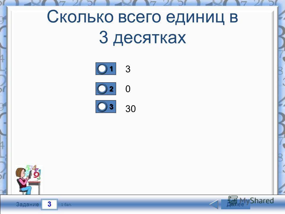 3 Задание Сколько всего единиц в 3 десятках 3 0 30 Далее 1 бал. 1111 0 2222 0 3333 0