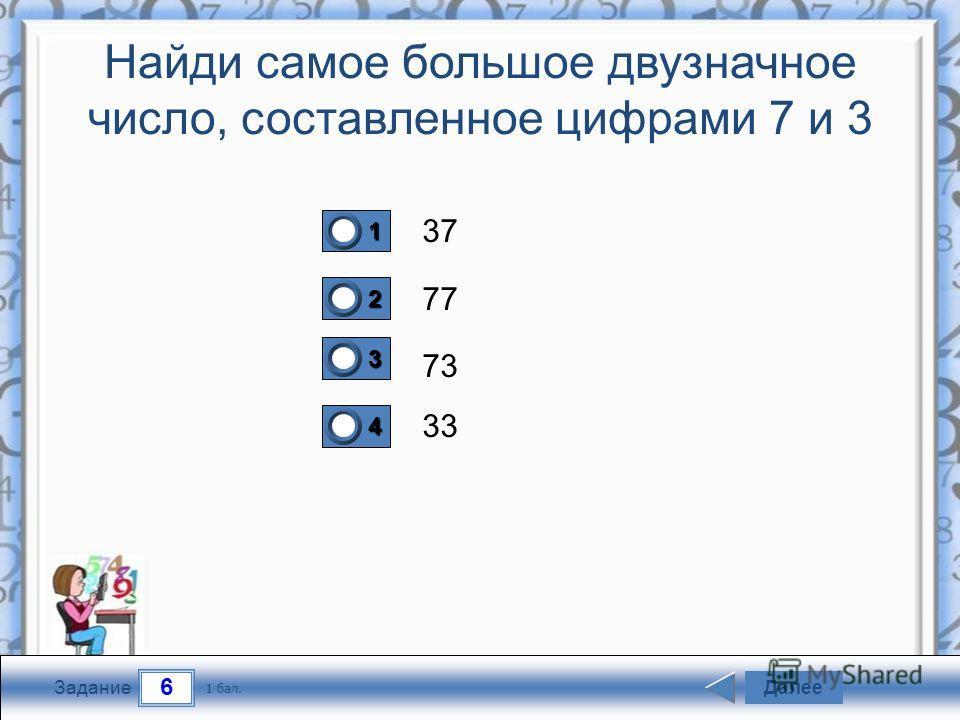 6 Задание Найди самое большое двузначное число, составленное цифрами 7 и 3 37 77 73 33 Далее 1 бал. 1111 0 2222 0 3333 0 4444 0