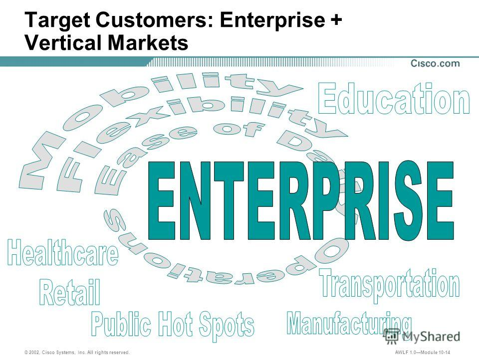 © 2002, Cisco Systems, Inc. All rights reserved. AWLF 1.0Module 10-14 Target Customers: Enterprise + Vertical Markets