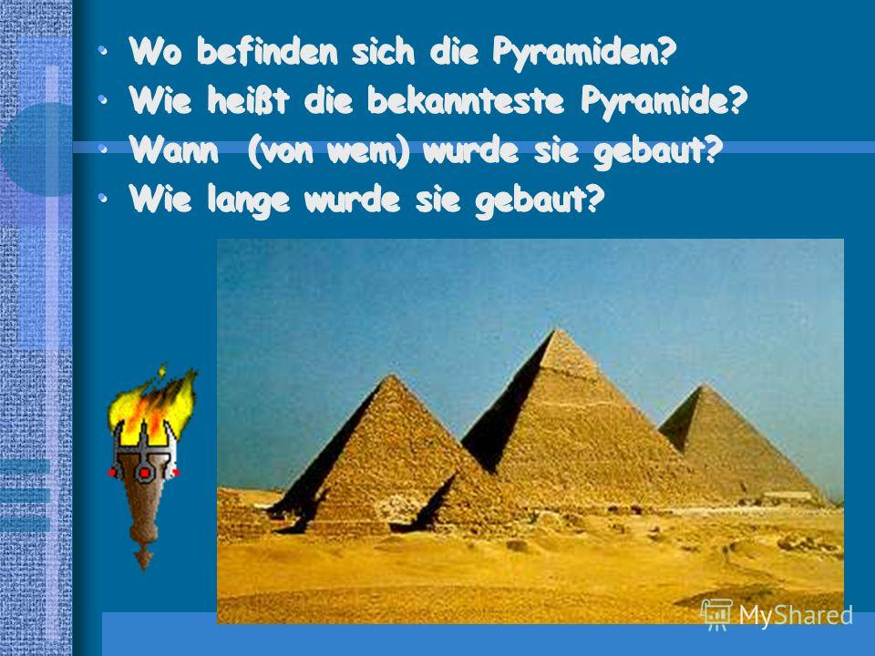 Zu den sieben Weltwundern gehörten auch die Pyramiden am Nil, die bekannteste davon, die Cheopspyramide wurde im 28. Jahrhundert von unserer Zeit in 20 Jahren von mehr als 100000 Sklaven gebaut. Es ist interessant: