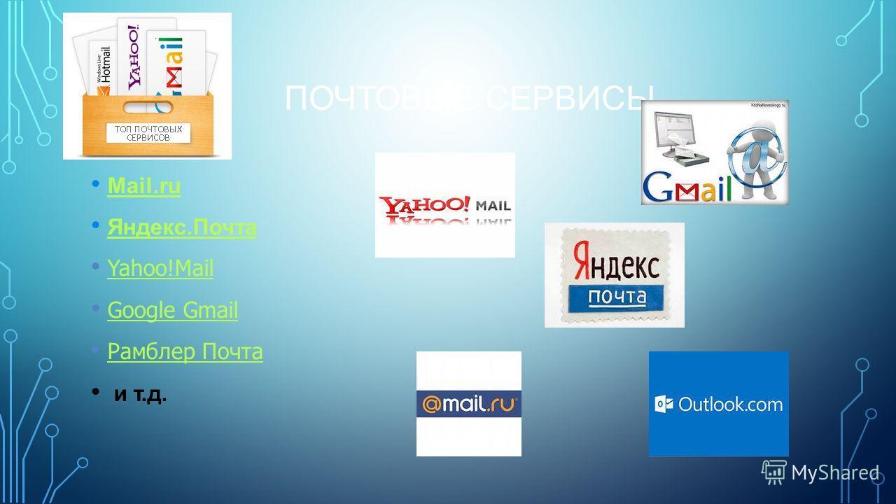 ПОЧТОВЫЕ СЕРВИСЫ Mail.ru Яндекс.Почта Yahoo!Mail Google Gmail Рамблер Почта и т.д.