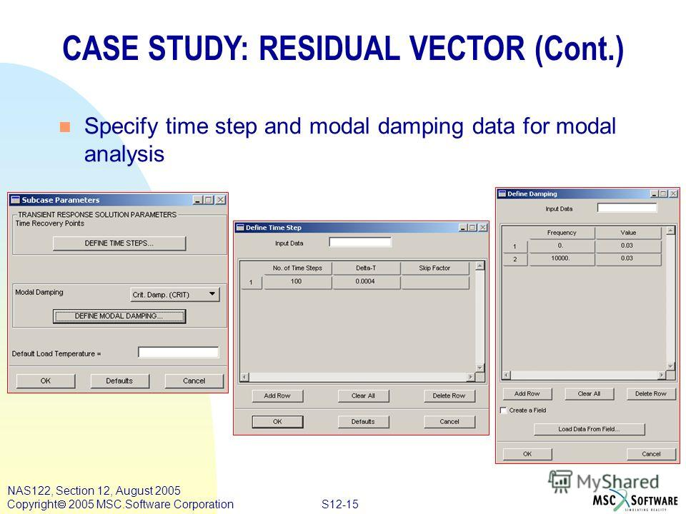 S12-15 NAS122, Section 12, August 2005 Copyright 2005 MSC.Software Corporation CASE STUDY: RESIDUAL VECTOR (Cont.) n Specify time step and modal damping data for modal analysis