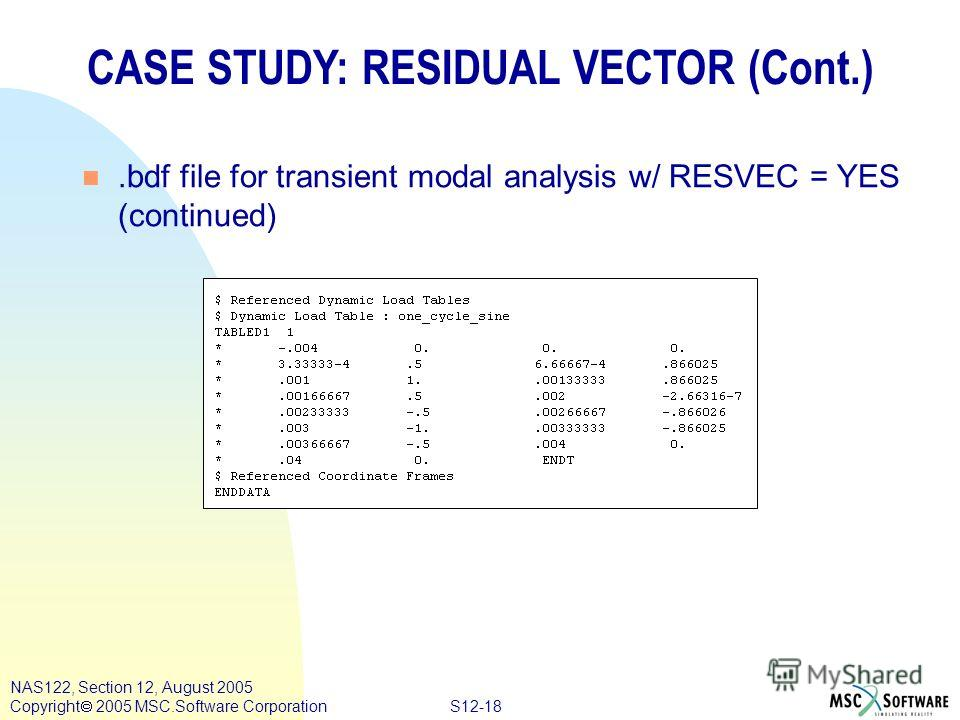 S12-18 NAS122, Section 12, August 2005 Copyright 2005 MSC.Software Corporation CASE STUDY: RESIDUAL VECTOR (Cont.) n.bdf file for transient modal analysis w/ RESVEC = YES (continued)