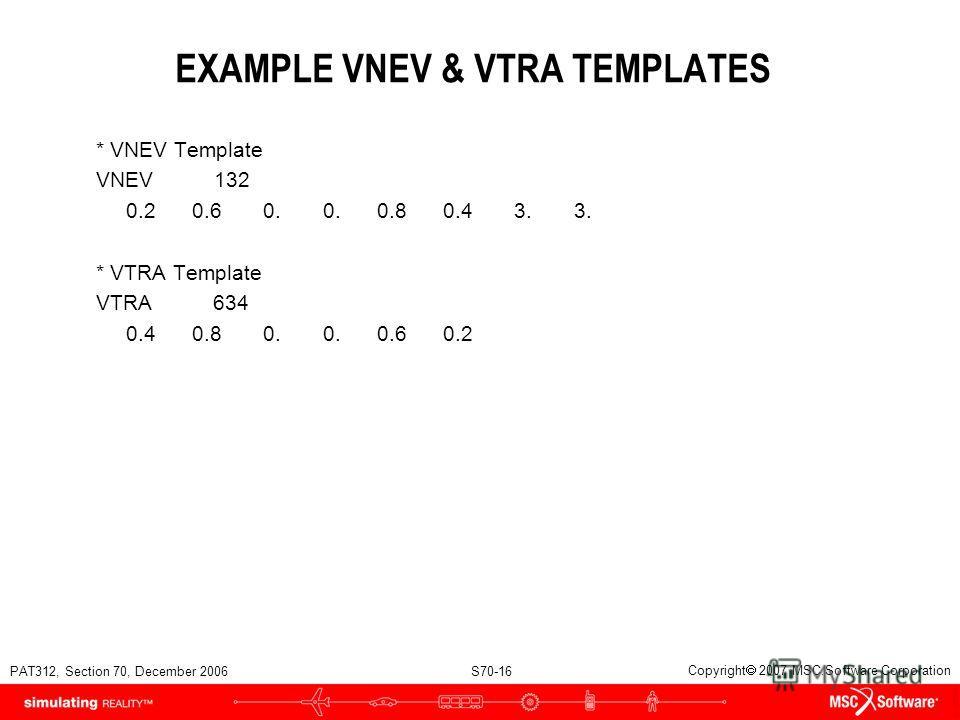 PAT312, Section 70, December 2006 S70-16 Copyright 2007 MSC.Software Corporation EXAMPLE VNEV & VTRA TEMPLATES * VNEV Template VNEV 132 0.2 0.6 0. 0. 0.8 0.4 3. 3. * VTRA Template VTRA 634 0.4 0.8 0. 0. 0.6 0.2