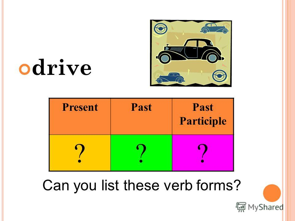 drive Can you list these verb forms? PresentPastPast Participle ???