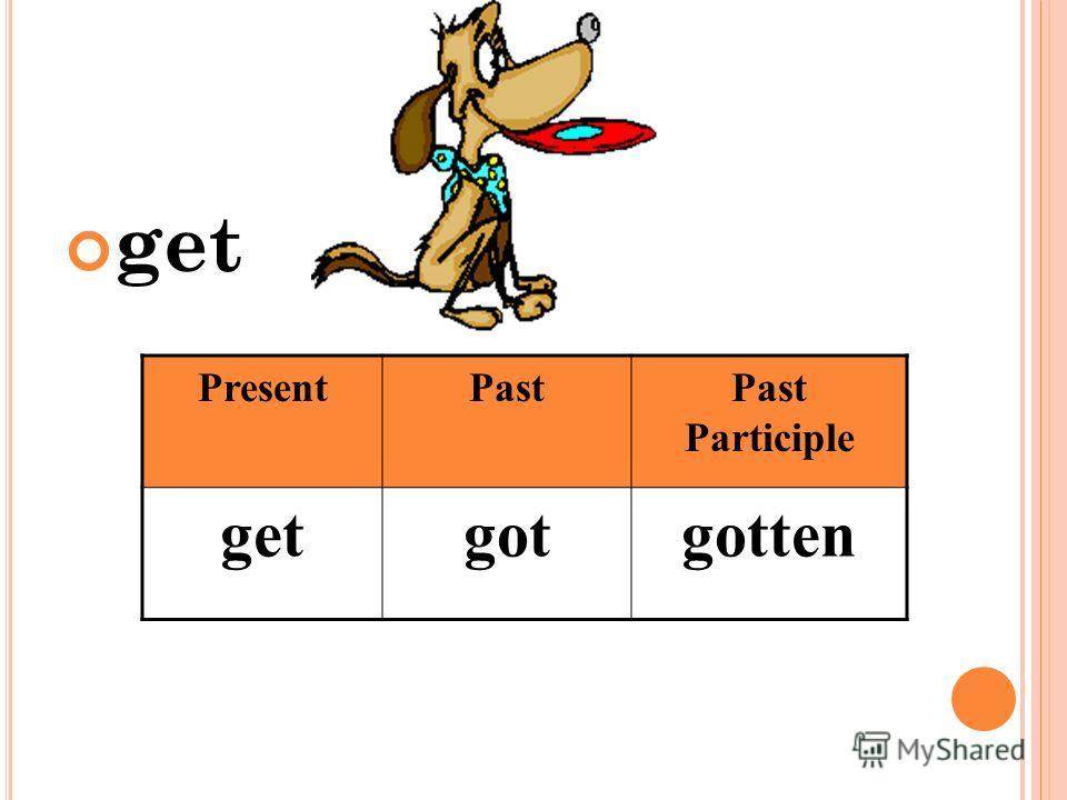 get PresentPastPast Participle getgotgotten