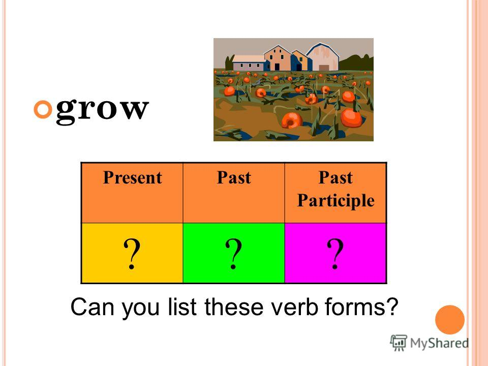 grow Can you list these verb forms? PresentPastPast Participle ???