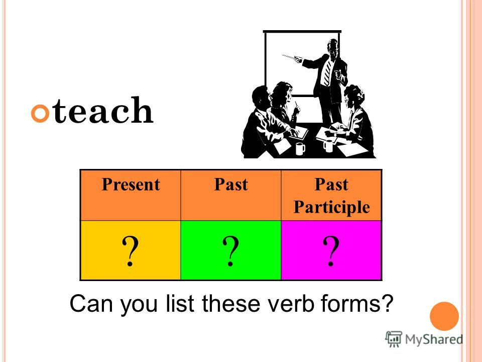 teach Can you list these verb forms? PresentPastPast Participle ???