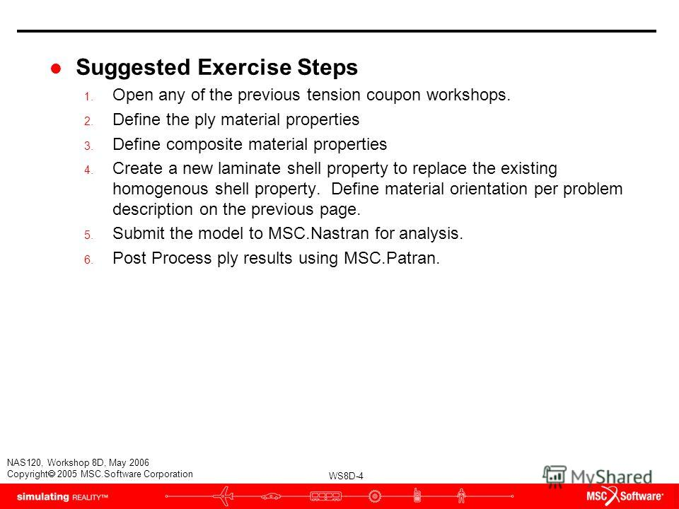 WS8D-4 NAS120, Workshop 8D, May 2006 Copyright 2005 MSC.Software Corporation l Suggested Exercise Steps 1. Open any of the previous tension coupon workshops. 2. Define the ply material properties 3. Define composite material properties 4. Create a ne