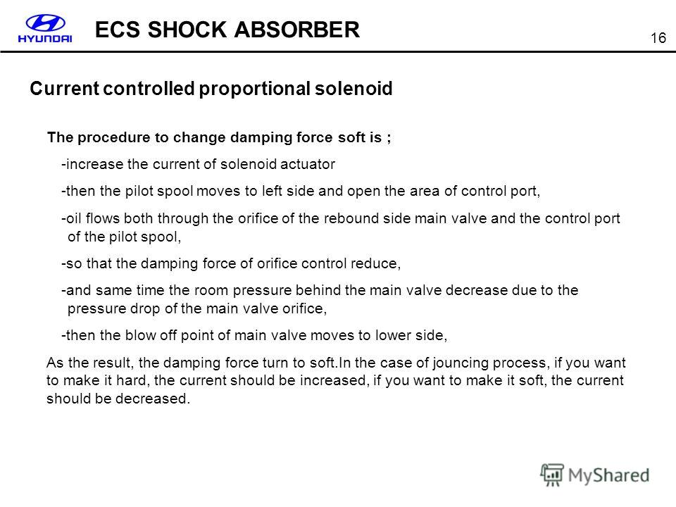16 Current controlled proportional solenoid The procedure to change damping force soft is ; -increase the current of solenoid actuator -then the pilot spool moves to left side and open the area of control port, -oil flows both through the orifice of