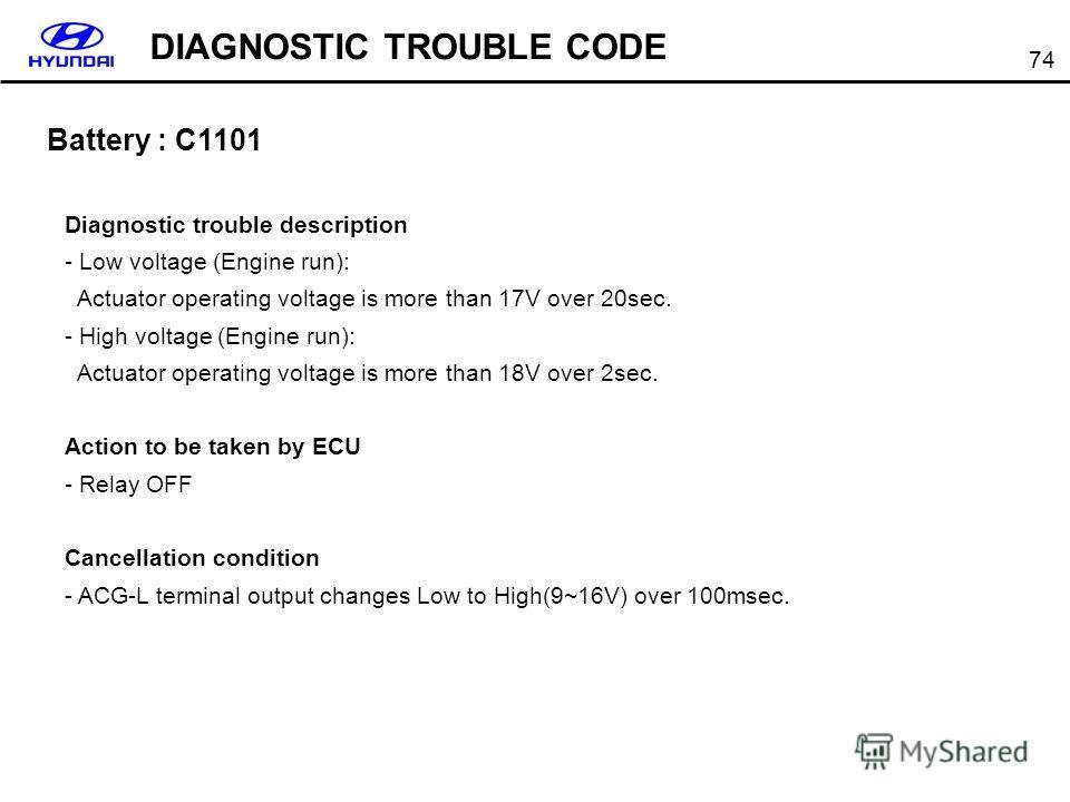 74 Battery : C1101 DIAGNOSTIC TROUBLE CODE Diagnostic trouble description - Low voltage (Engine run): Actuator operating voltage is more than 17V over 20sec. - High voltage (Engine run): Actuator operating voltage is more than 18V over 2sec. Action t