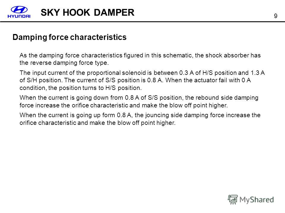 9 Damping force characteristics As the damping force characteristics figured in this schematic, the shock absorber has the reverse damping force type. The input current of the proportional solenoid is between 0.3 A of H/S position and 1.3 A of S/H po