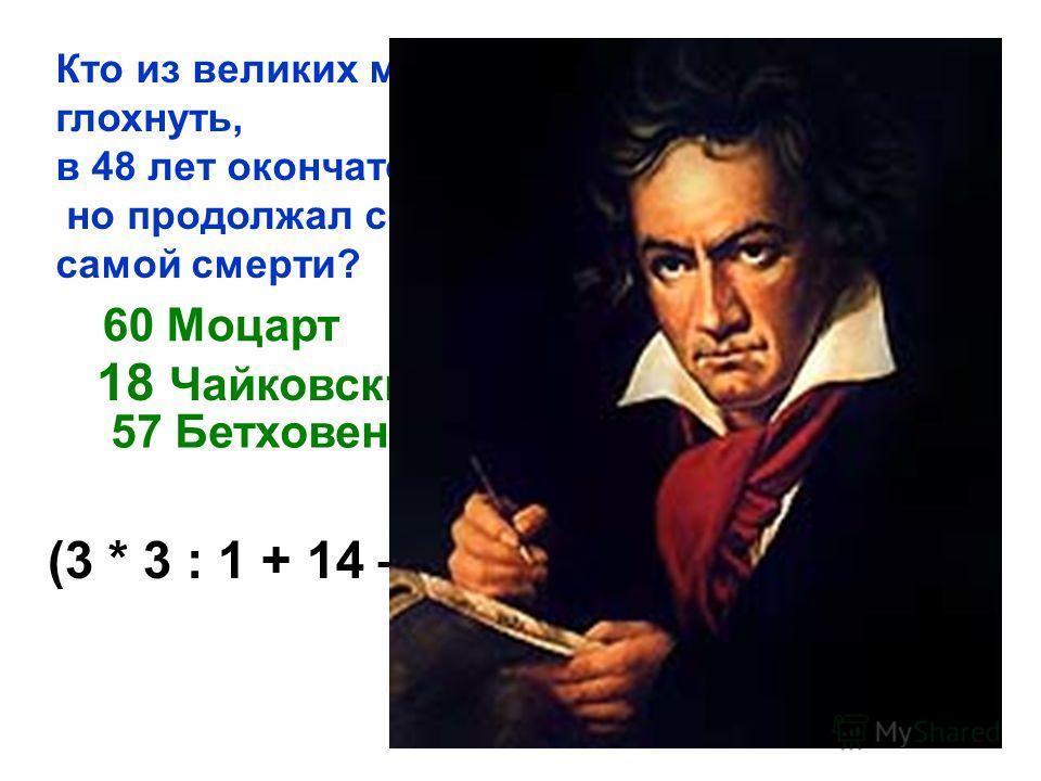 Кто из великих музыкантов в 28 лет начал глохнуть, в 48 лет окончательно потерял слух, но продолжал сочинять великую музыку до самой смерти? 60 Моцарт 18 Чайковский 57 Бетховен (3 * 3 : 1 + 14 – 5) : 2 + 81) : 10 : 3 +54