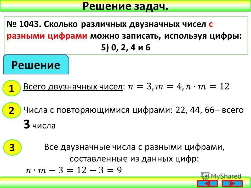 Решение задач. 1043. Сколько различных двузначных чисел с разными цифрами можно записать, используя цифры: 5) 0, 2, 4 и 6 Решение 1 2 Числа с повторяющимися цифрами: 22, 44, 66– всего 3 числа 3