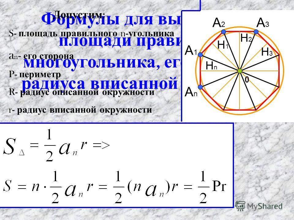Формулы для вычисления площади правильного многоугольника, его стороны и радиуса вписанной окружности Допустим : S- площадь правильного n- угольника a n - его сторона P- периметр R- радиус описанной окружности r- радиус вписанной окружности 0 A1A1 An