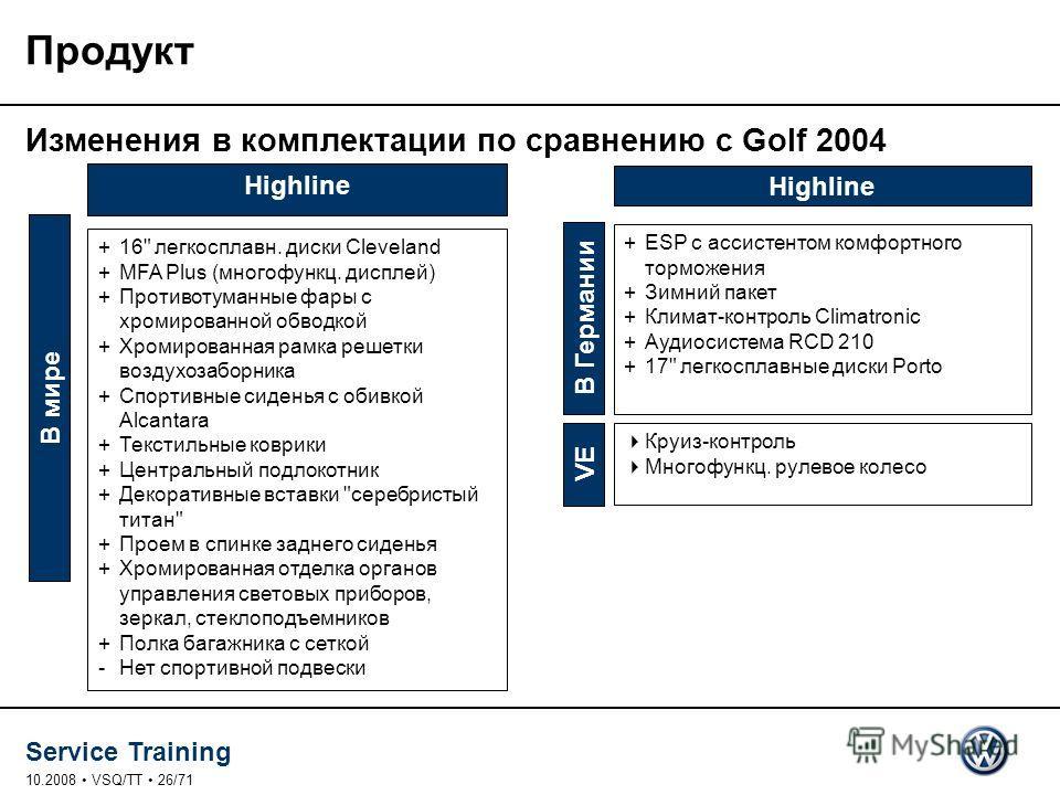 Service Training 10.2008 VSQ/TT 26/71 Продукт В мире +16