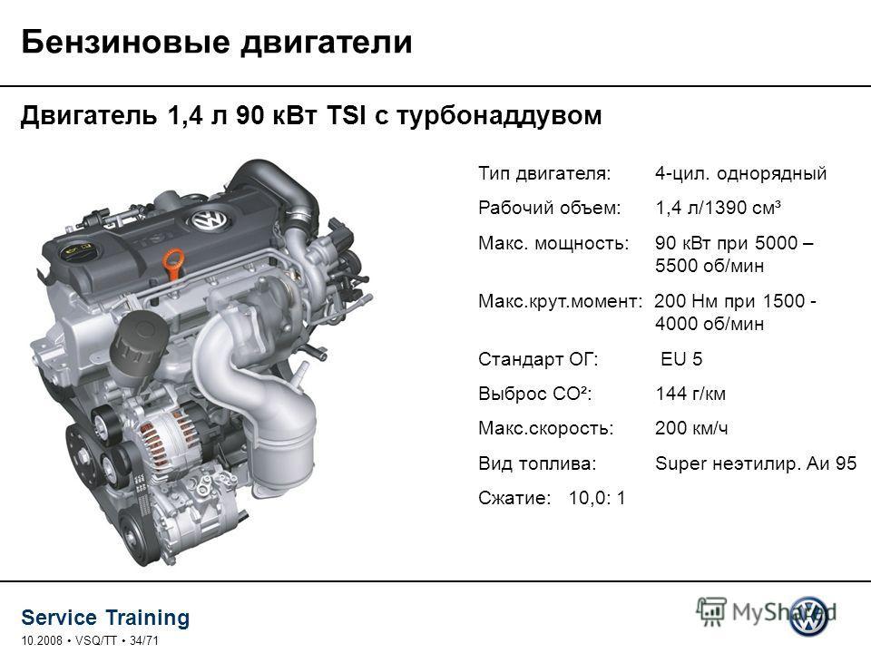 Service Training 10.2008 VSQ/TT 34/71 Бензиновые двигатели Двигатель 1,4 л 90 к Вт TSI с турбонаддувом Тип двигателя: 4-цил. однорядный Рабочий объем: 1,4 л/1390 см³ Макс. мощность: 90 к Вт при 5000 – 5500 об/мин Макс.крут.момент: 200 Нм при 1500 - 4